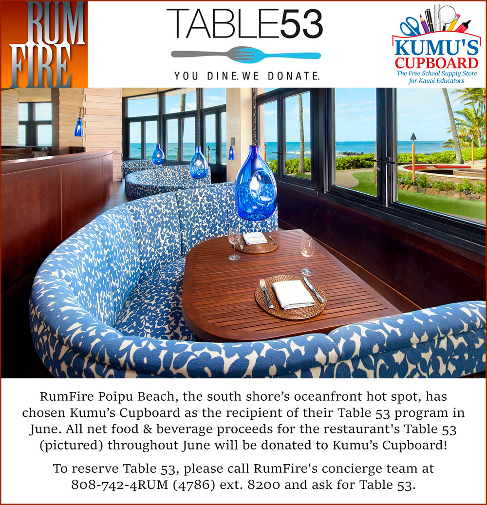 RumFire Poipu Table 53 Fundraiser Flyer 2