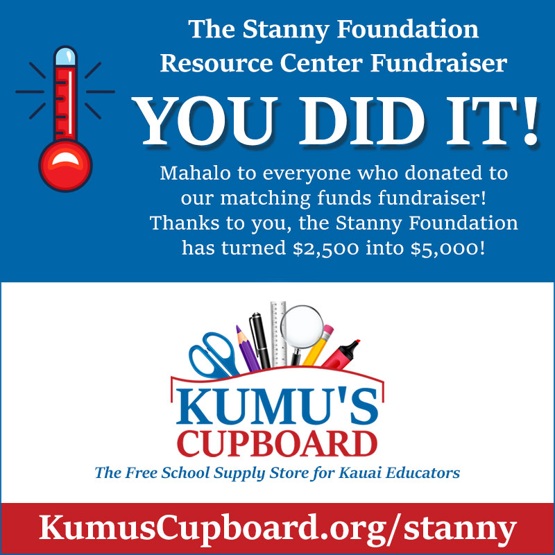 You Did It! Stanny Foundation Resource Center Matching Funds