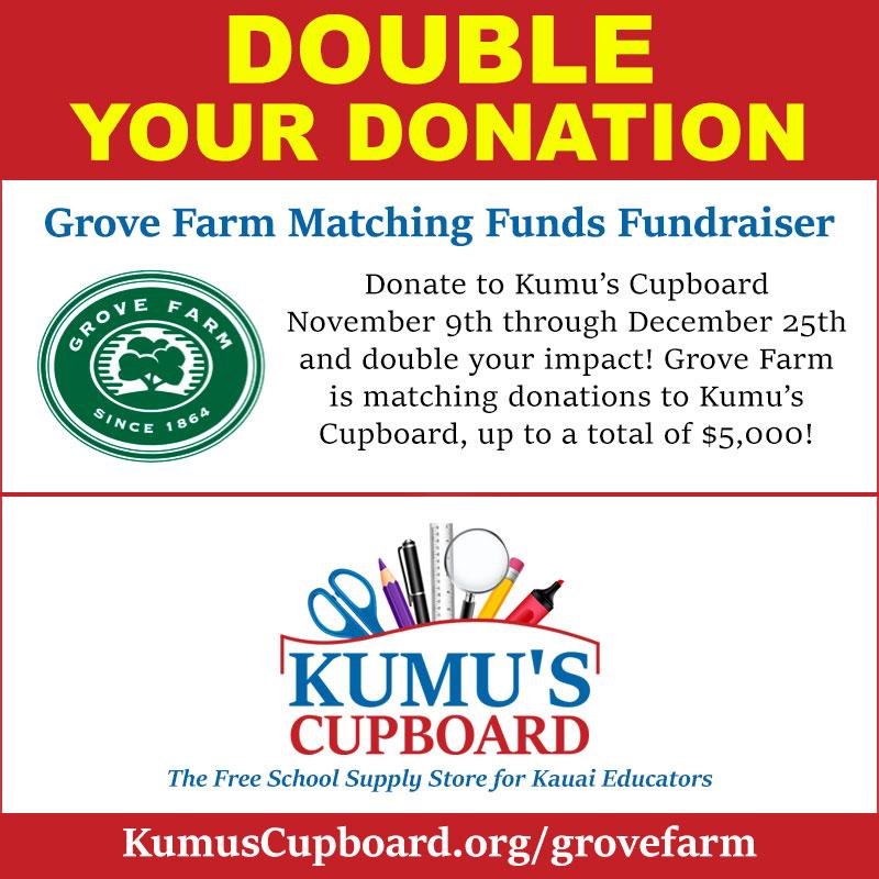 Grove Farm Matching Funds Fundraiser 2020